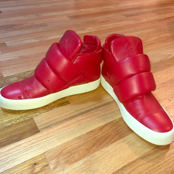 679b9c3a80b2b Giuseppe Zanotti Shoes | Red Giuseppe Puff Strap Size 12 | Poshmark